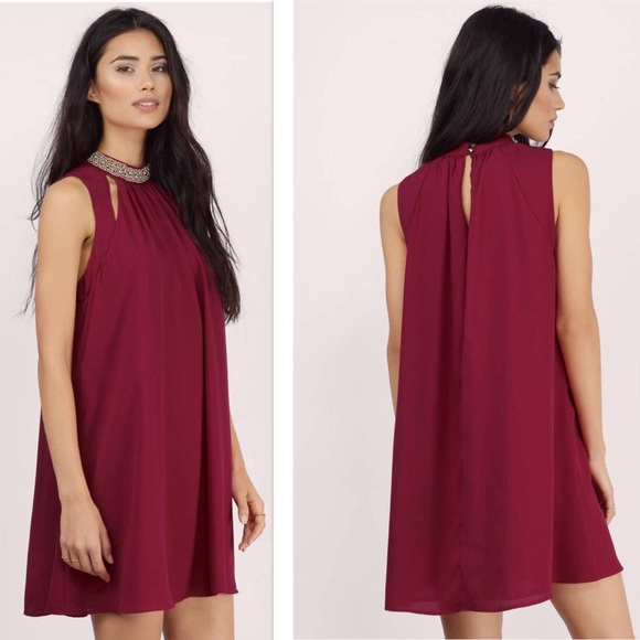 83afc3413b0ab Tobi Dresses | Nwt Jeima Burgundy Shift Dress Medium | Poshmark
